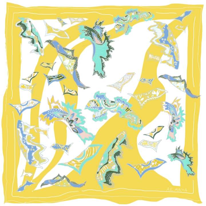 a Pucci scarf, a swimming Pucci scarf